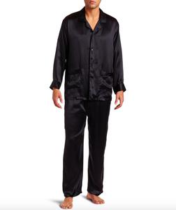 Good quality mens night wear custom silk pajamas