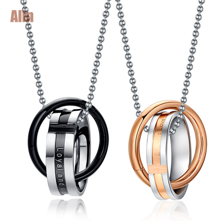 Latest <strong>fashion</strong> 1 pair stainless steel lover couple necklace engraved metal cursiveletter pendant wholesale