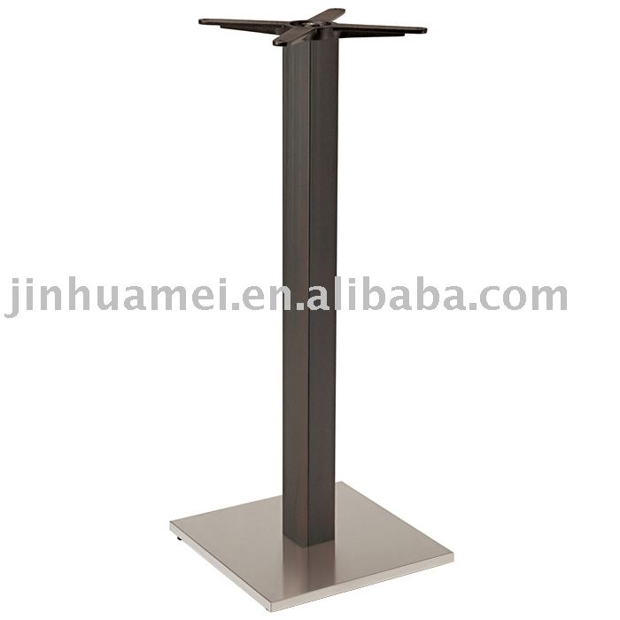 339-40HSI SQUARE INOX BAR Table Base with imitated wood pole
