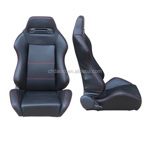 Type One Universal Fully Reclinable Racing Seat With Red Stitch (Black/Right)