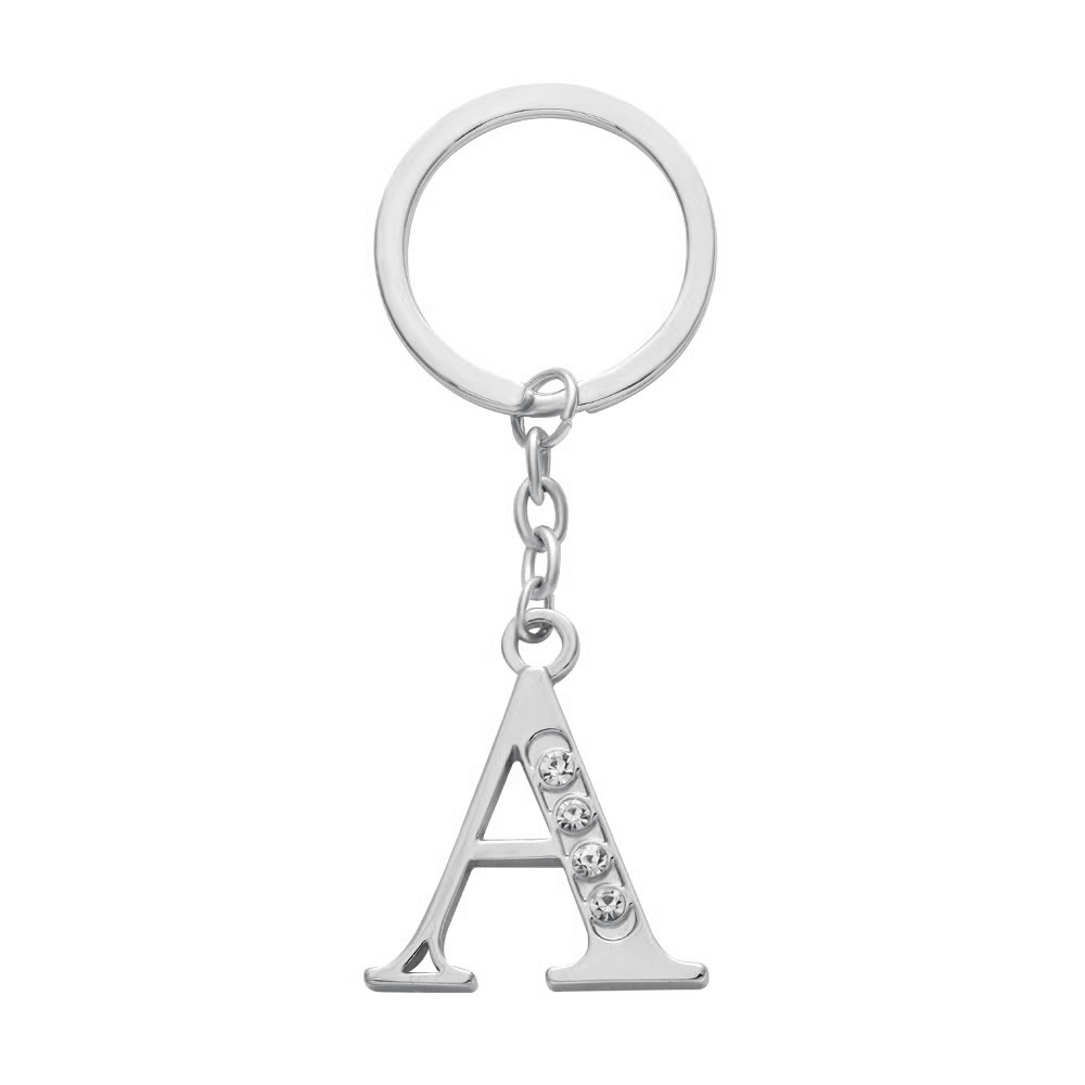 2016 Hot Sellng Handmade Silver Gold Rose Gold Plating Crystal Alphabet Letter A keychain