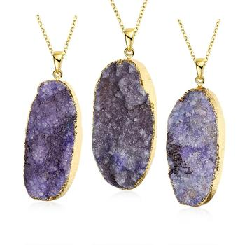 18k gold plated irregular natural stone pendant necklaces women 18k gold plated irregular natural stone pendant necklaces women natural agate bijoux stone gem stone necklaces aloadofball Image collections