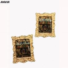 Женские винтажные серьги-гвоздики Климта, раскрашенные маслом, в винтажном стиле, 2019(Китай)