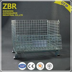 Tire Storage Pet Preforms Foldable Wire Mesh Cage Cage Container with Casters