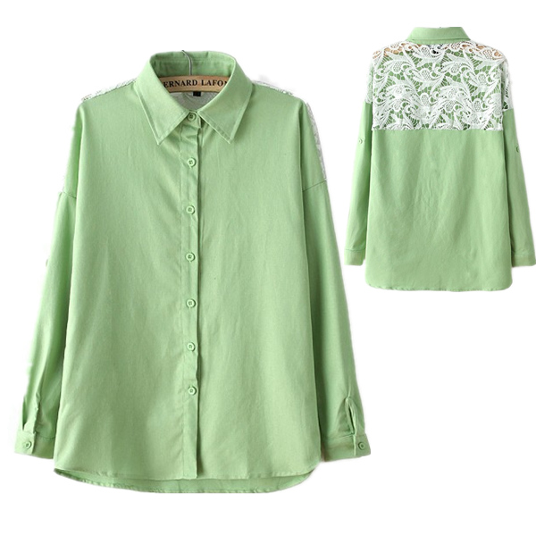 319c247b4dc13 Get Quotations · 2015 New Arrival Women Plus Size Clothing Lace Stitching Mint  Cotton Linen Shirt