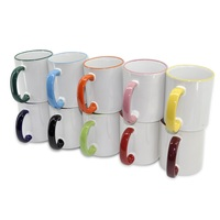 rim and handle color ceramic 11oz sublimation mug, mug for heat press
