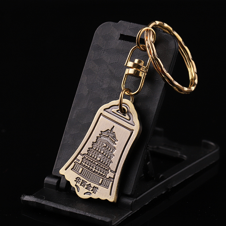 Factory outlets custom bronze Ancient clock double sided design keychain ker ring