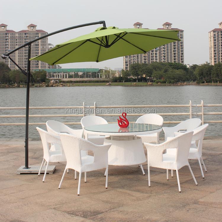 Muebles de mimbre al aire libre patio jardín mesa redonda y 8 ...