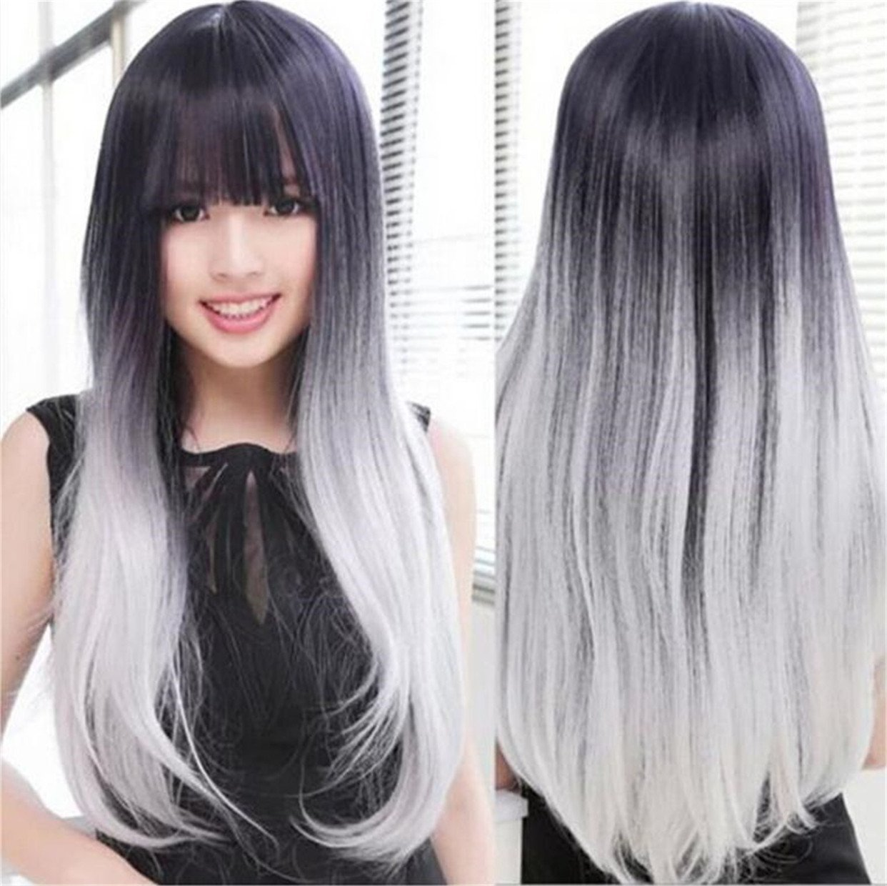 Get Quotations · Futuretrend®most Popular Cheap Ombre Wig Womens Lady s  Long Stright Wigs Two Tone Black to 3263815a5