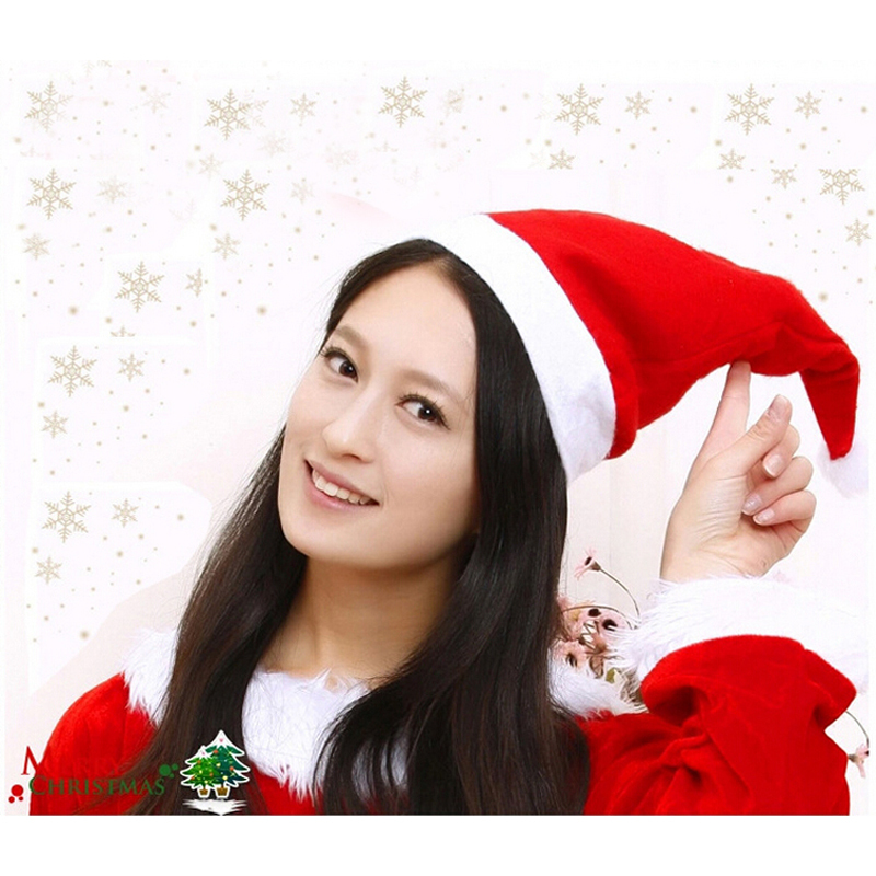 12pcs/lot Christmas Cap Thick Ultra Soft Plush Santa Claus Christmas Holiday Hat Christmas Decoration Supplies Free Shipping