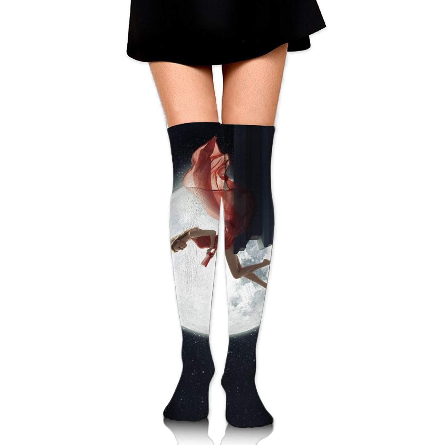 344f2694bcd Get Quotations · Sexy Woman Moon Galaxy Ankle Stockings Over The Knee Sexy  Womens Sports Athletic Soccer Socks