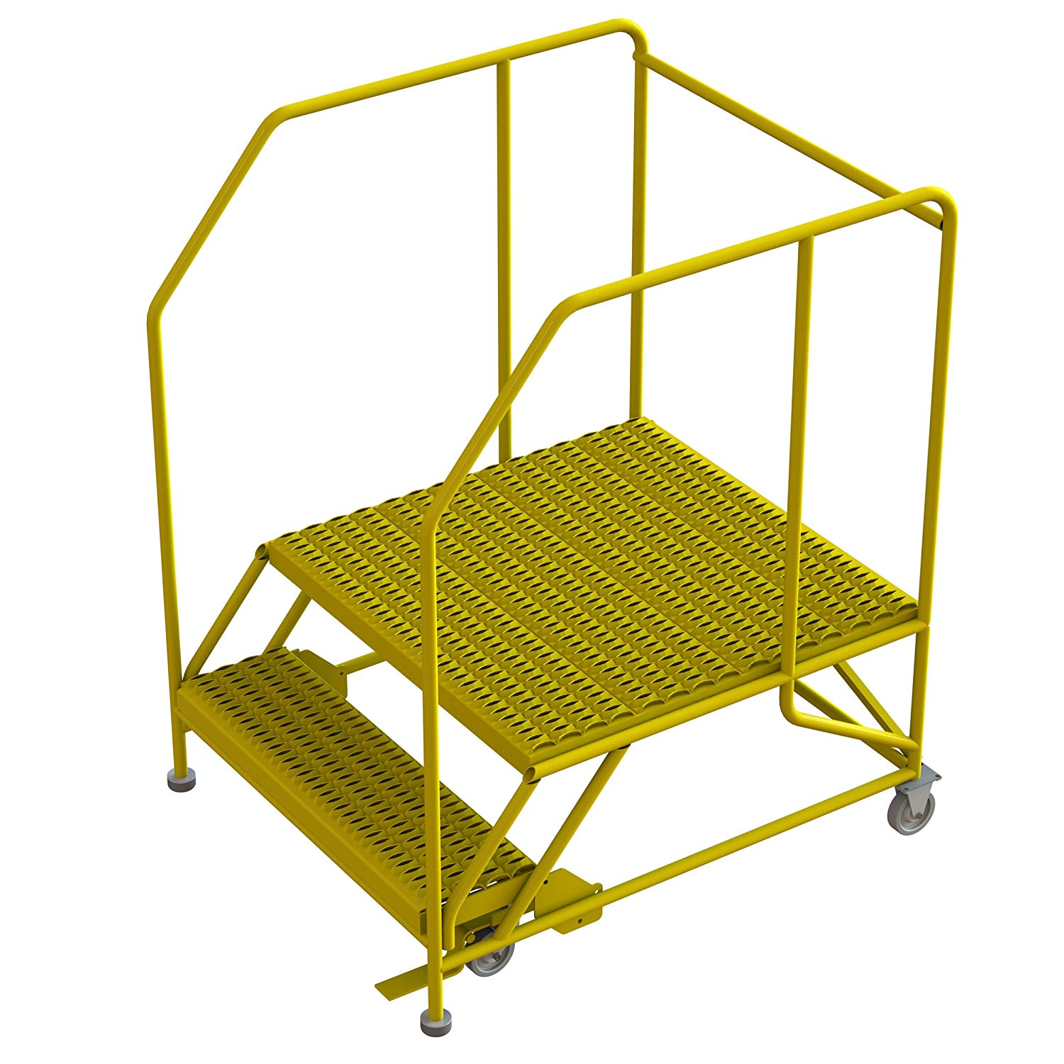 "Tri-Arc WLWP123636SL-Y 2-Step Forward Descent Mobile Steel Work Platform with Handrails, Step Lock, 36"" x 36"" Platform, SAFETY Yellow Powder Coated Finish, 56"" Height, 42"" width, 46"" Length"