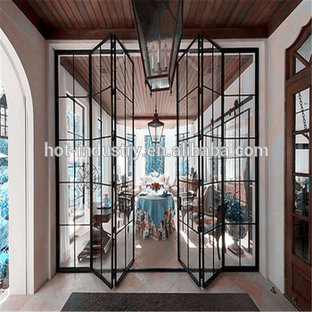 New Modern House Steel Bi Folding Door Wrought Iron Window