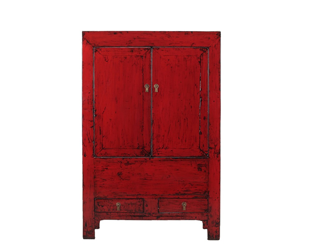 Chinese antique restored distressed antique wedding cabinet