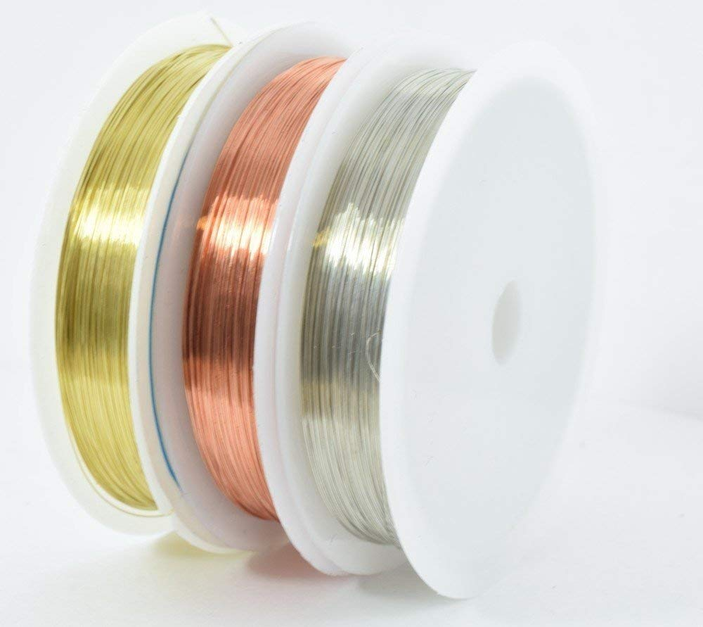 Roll Alloy Cord Silver Gold Copper Color Plated 0.25 0.3 0.4 0.5 0.6 0.7 0.8 1 mm Craft Beads Rope Copper Wires Beading Wire (0.4mm Silver, Silver)