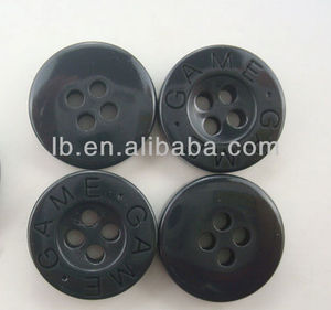 hot sale engraved black plastic buttons for clothing with high quality