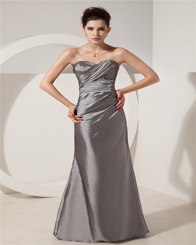 High Quality Grey Sweetheart Sleeveless Evening Gowns Floor Length Embroideried Ruched Mother Of The Bride Dress