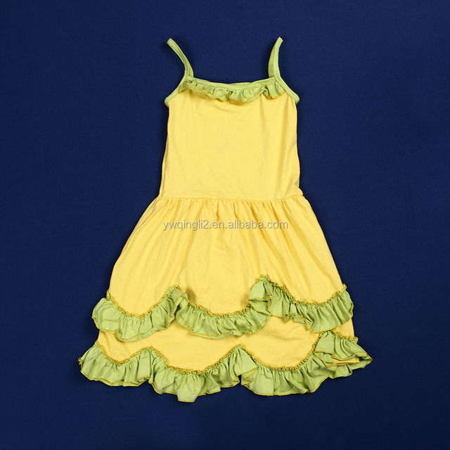 143d9370813 XF-217 wholesale summer baby girls party dress design yellow ruffle party  dress