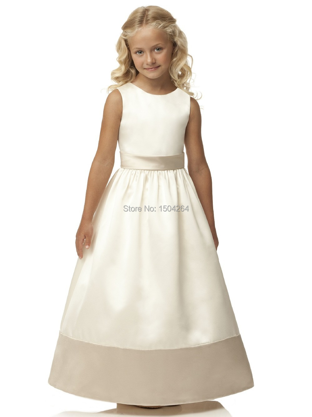 aae3b11f35e Get Quotations · New Products 2015 A-line Little Girl Pageant Dress Gowns  White Satin Flower Girl