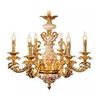 New Arrival Luxury Royal Golden Floral Painted Chandelier - Antique European Style Gilt Pendant Light for Villa BF11-02284a