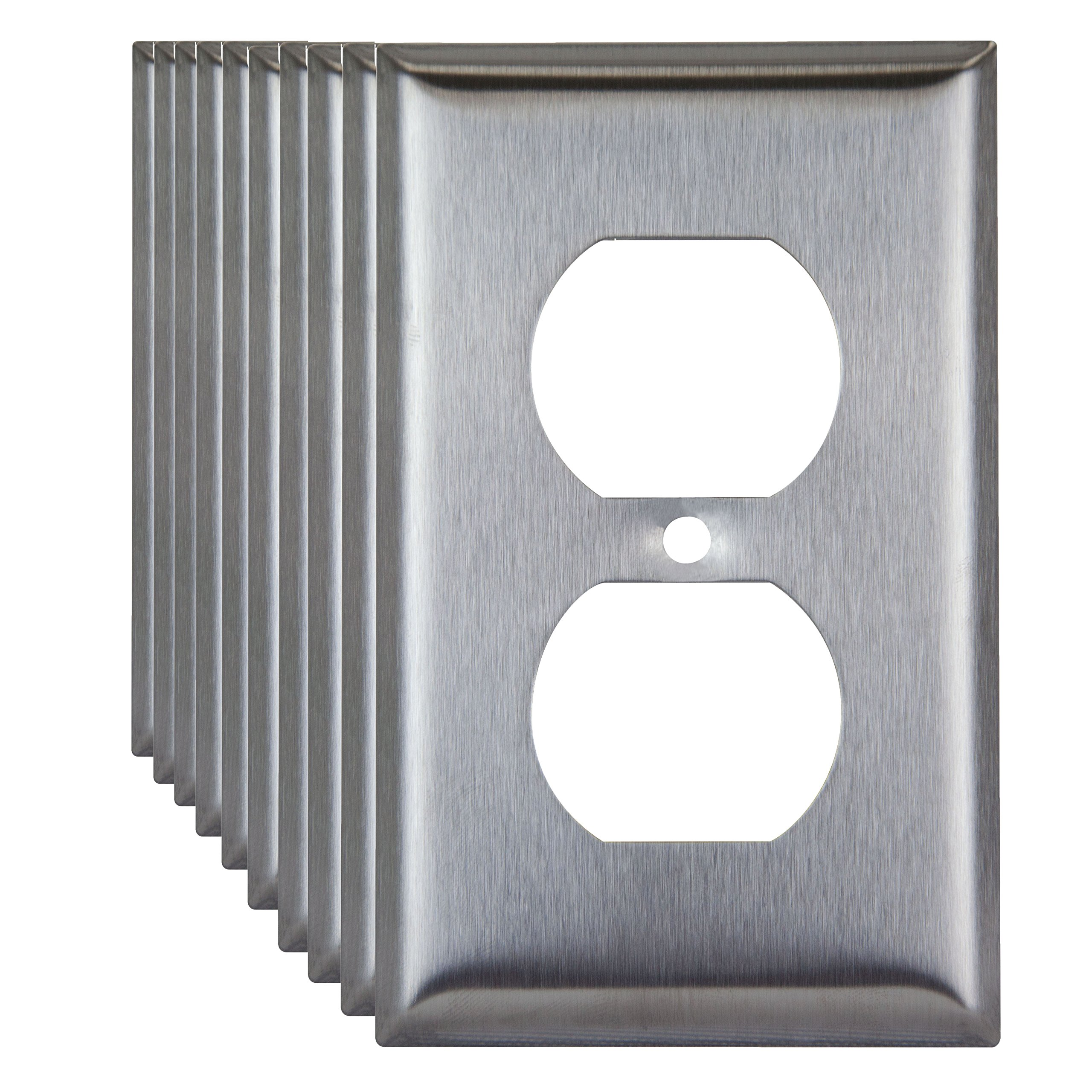 Enerlites 7721-10PCS Duplex Outlet Stainless Steel Wall Plate 1-Gang, Standard Size, 430 Grade Metal Plate Alloy Corrosive Resistant Cover for Receptacle Electrical Power Sockets (10 Pack)