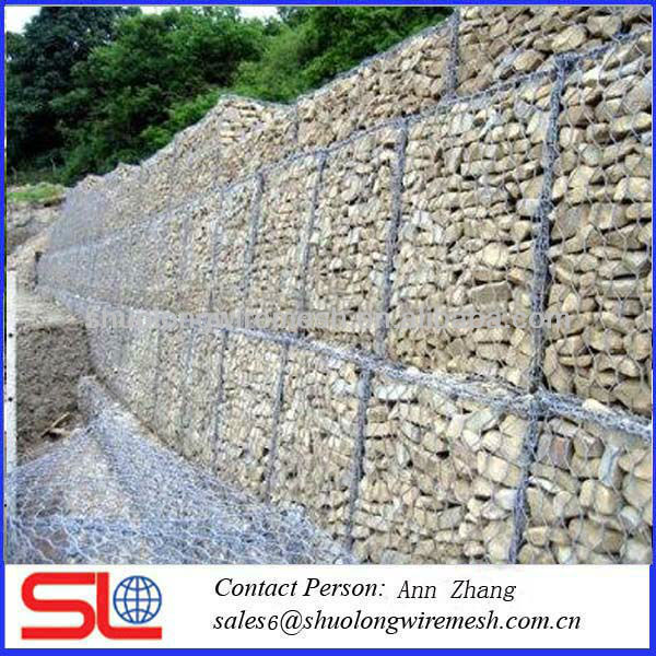 Hot dip galvanized hexagonal gabion wire mesh for guide the water(Anping factory)