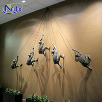 Metal cast indoor ornament art shown 3D bronze climbing man statue wall ornament sculpture