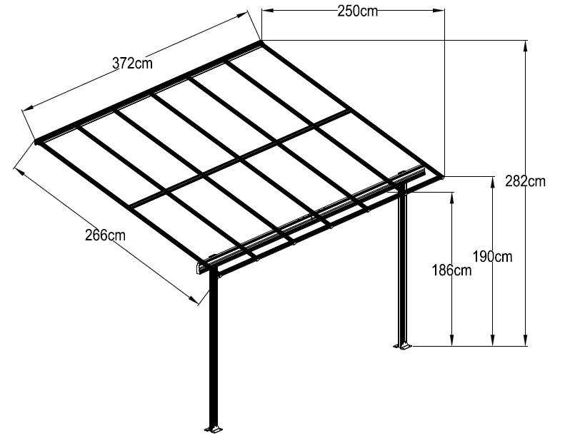 10 pies de ancho blanco aluminio policarbonato p rgola garajes marquesinas y cocheras - Perfiles aluminio para pergolas ...