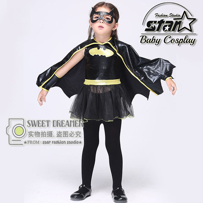 Girls Batwomen Superhero Halloween Cosplay Costumes With Cloak Fantasia Vestido font b Fancy b font Tutu