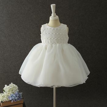4cfc019b4c5 2017 Nouveau-né bébé vêtements première Communion blanche robe Broderie  Fleur bébé coton robes conceptions