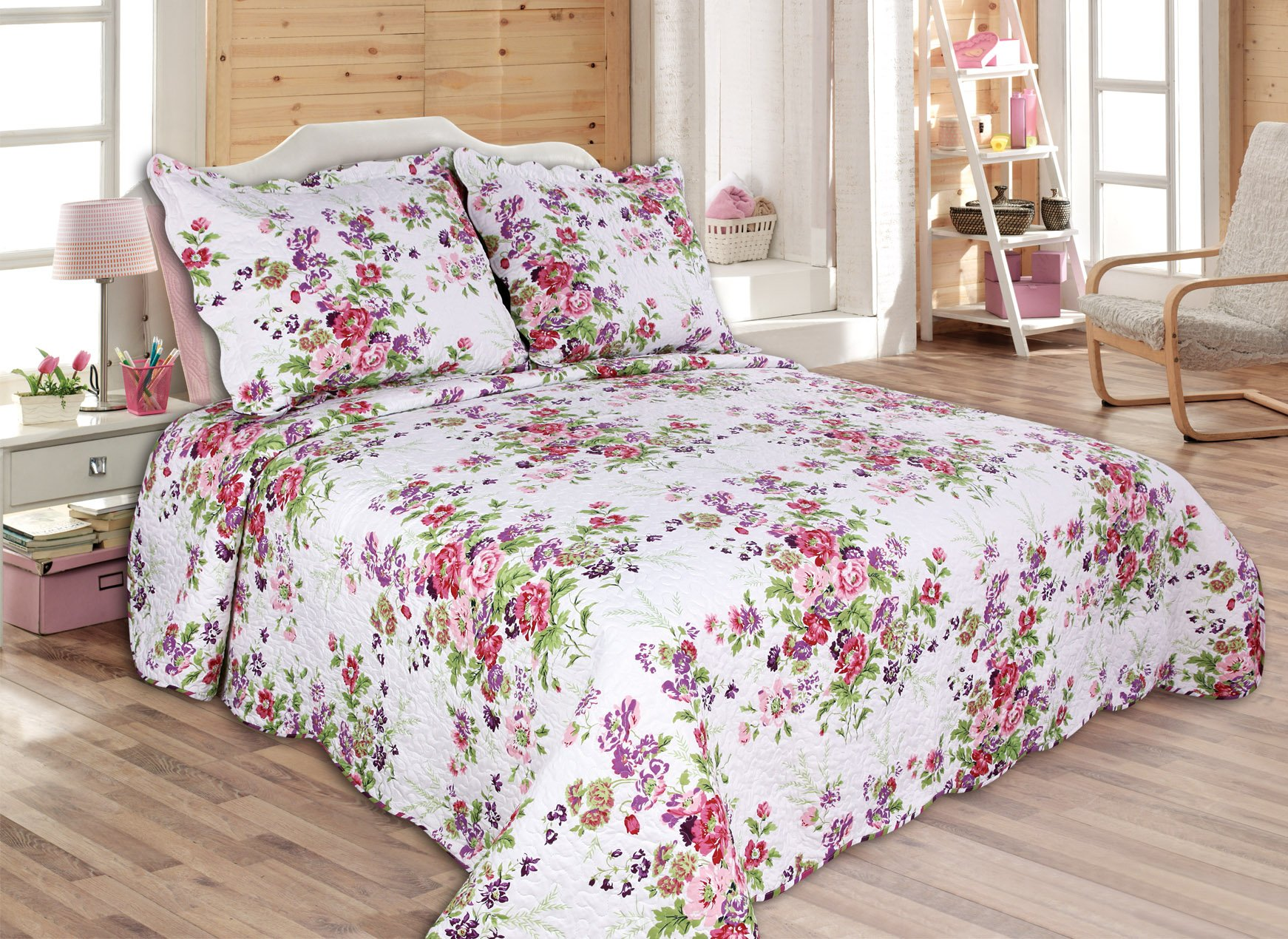 "ALL FOR YOU 3pc Reversible Bedspread, Coverlet,Quilt Set-Larger King Size King Size Pillow Shams- 100"" x 110""-Flower"