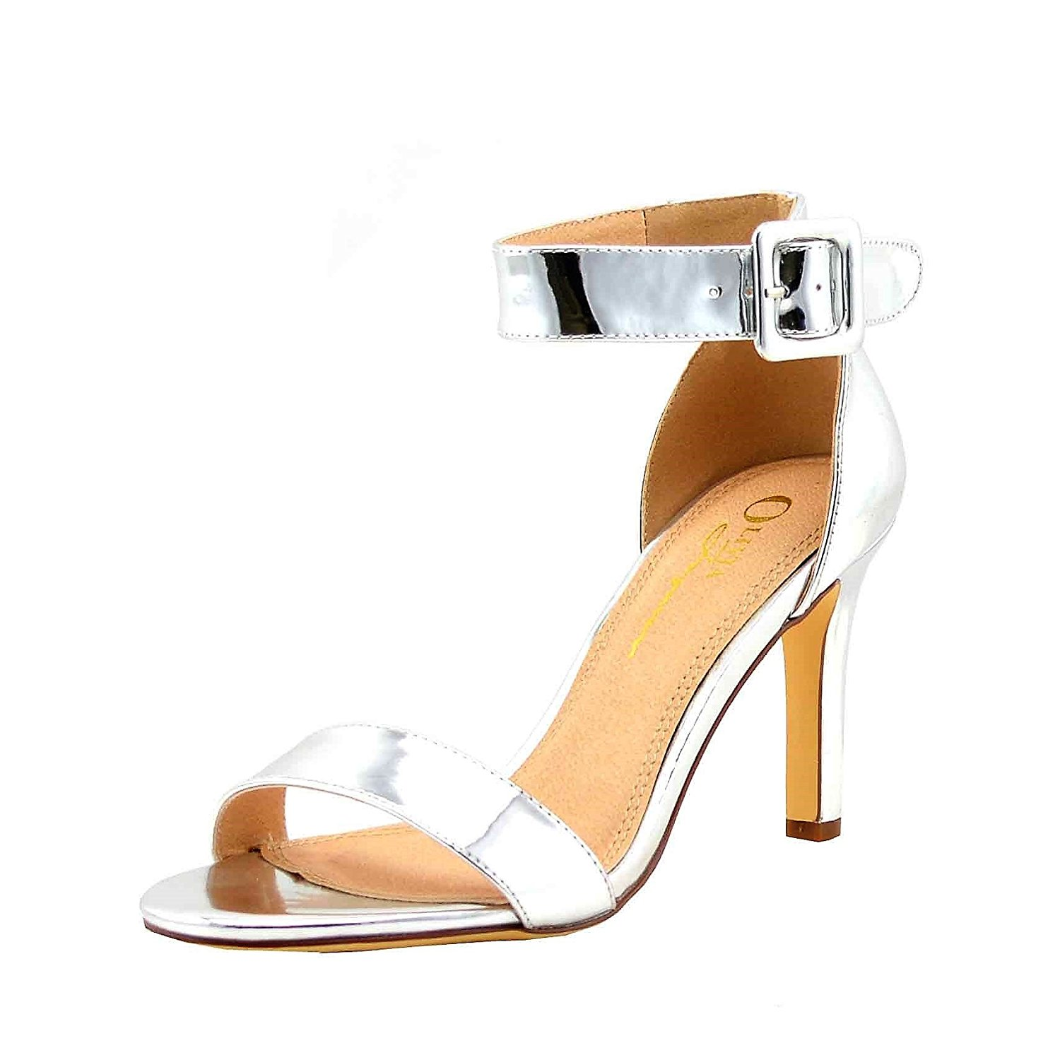 Olivia Jaymes Women's Casual Sandal Round Open Toe One Band Ankle Buckle Strap | Mid Kitten Heel Sandals
