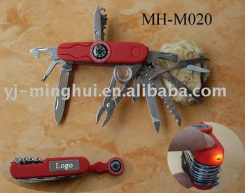 Multi function knife with compass and led