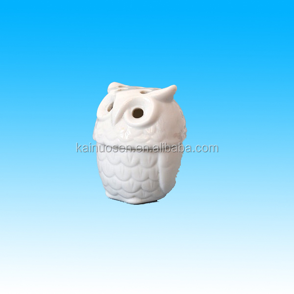 vintage owl porcelain incense burner