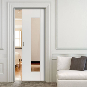 Interior Cheap Sound Insulated Wooden Glass Pocket Door