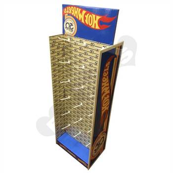 cardboard hook display For Hot Wheels cardboard display counter with hooks cardboard display stand with hooks