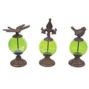 Glass Globe Cast Iron Garden Decor Accent, 11 Inch, Set Of 3,