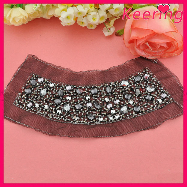 Wholesale sew on bead embroidered neck patch design WPH-1800
