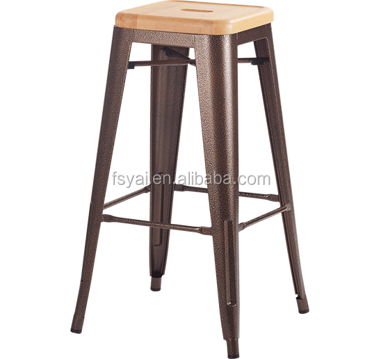 colorful wooden seat xavier vintage industrial style metal frame barstool