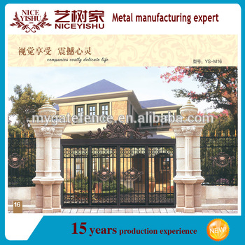 Cheap alibaba.com cast aluminum sliding gate model with aluminum ornaments or iron ornaments / safety wrought iron main gate