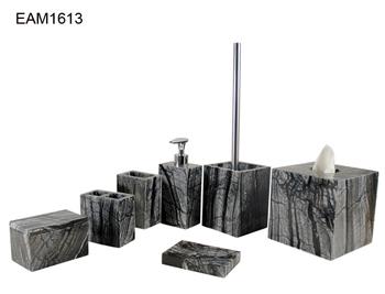 Hotel decoration black marble bathroom accessories set - Black marble bathroom accessories ...