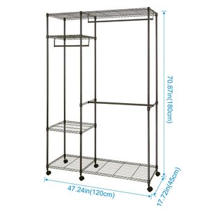Free-standing Closet Garment Rack,Heavy Duty Clothes Storage Rack with Hanger Bar