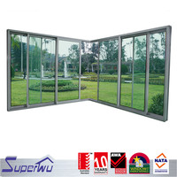 aluminum profile heat preservation sliding door with glass blinds for patio