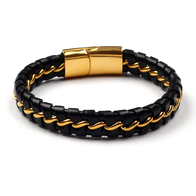 "Mens Braided Stainless Steel 18K Gold Plated Genuine Leather Bracelet Bangle,Magnetic Clasp,7.8"",Wholesale Price"