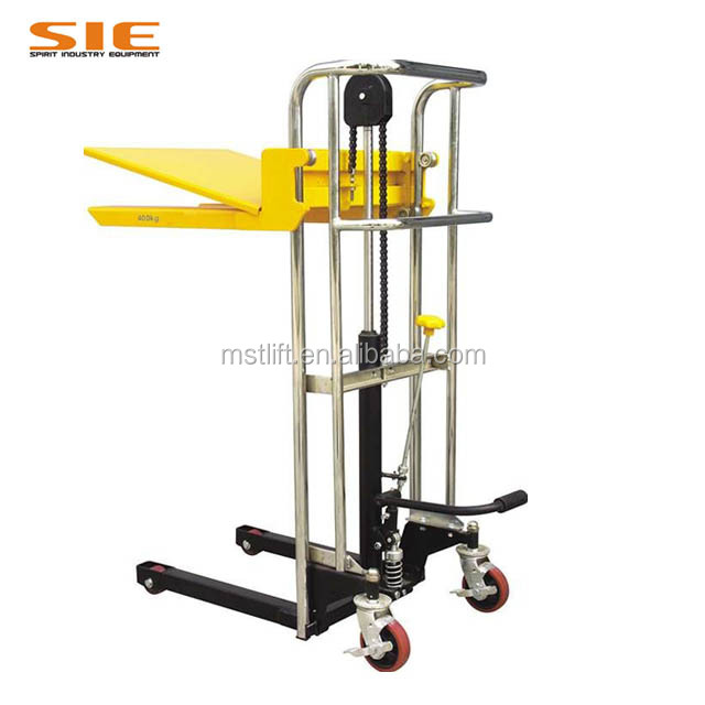 Hot Sale Rated 400kg hydraulic manual luggage platform stacker
