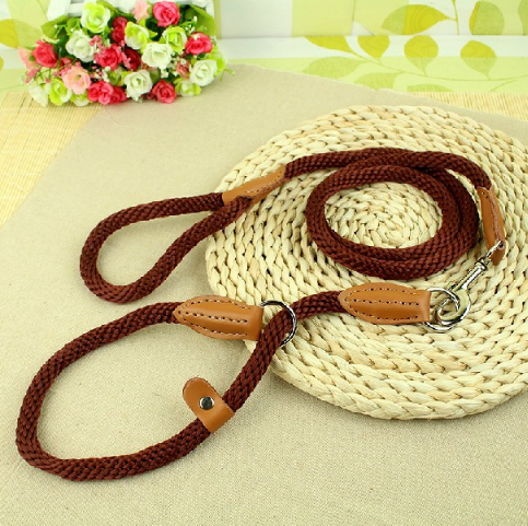 New Dog Leads Nylon Braided Leather Dog Collar Chain Leash Large Dogs