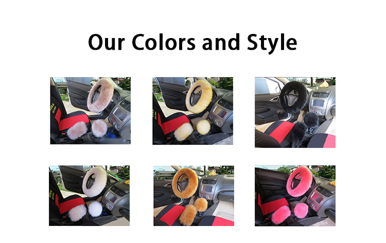 FX-M-013 15 inch premium red fluffy heated steering wheel cover set