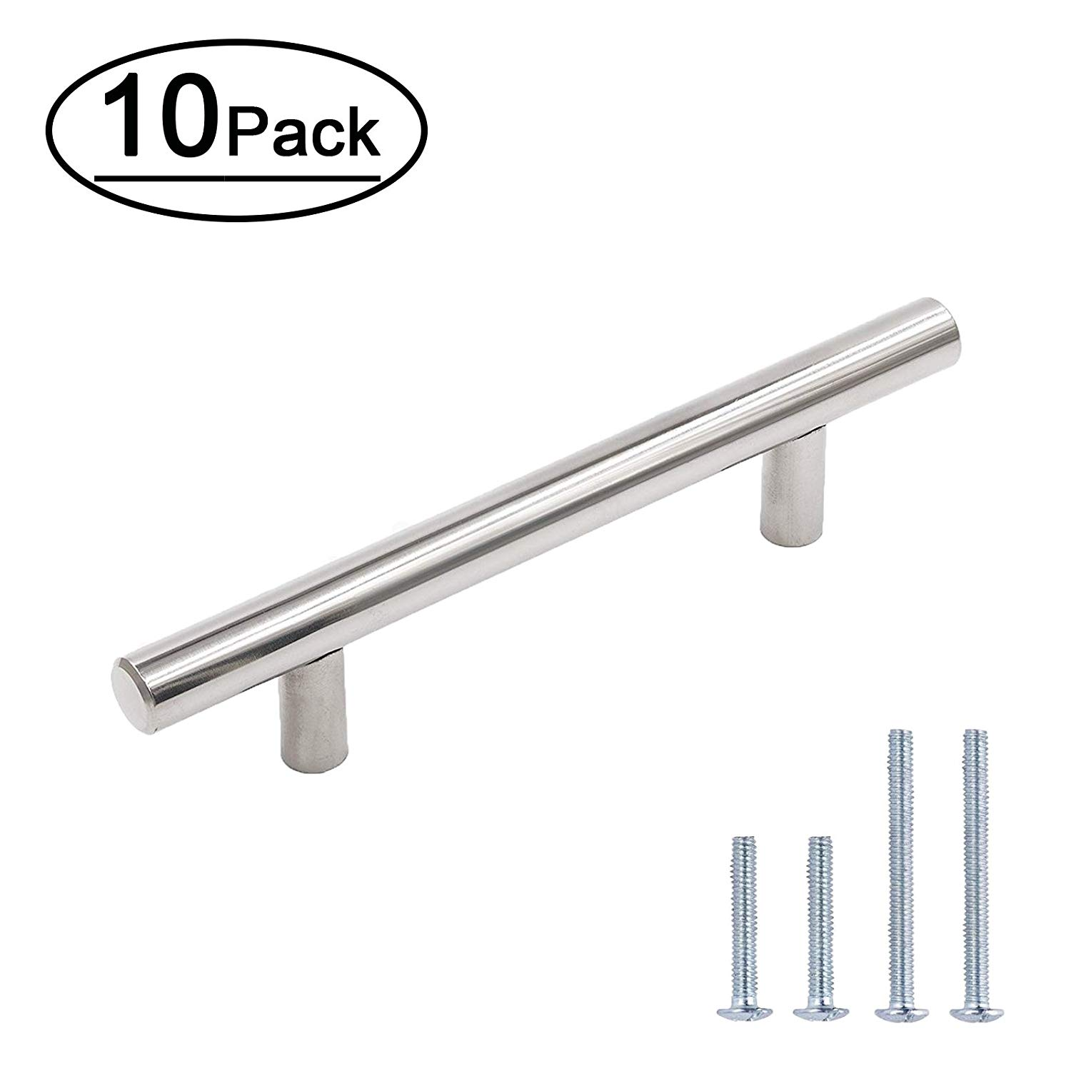 3.5 inch Drawer Pulls Chrome Cabinet Handles and Knobs - LONTAN LH201CP90 Kitchen Cupboard Pulls Stainless Steel Hardware Handles 10 Pack
