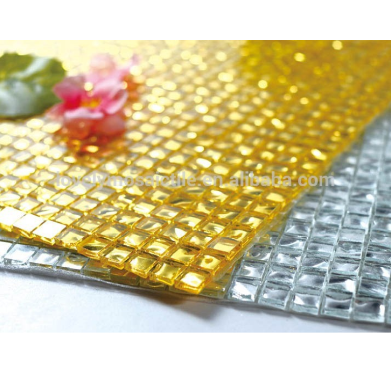 Imitation Roughness Wave Pattern Gold Color Glass Mosaic Tile