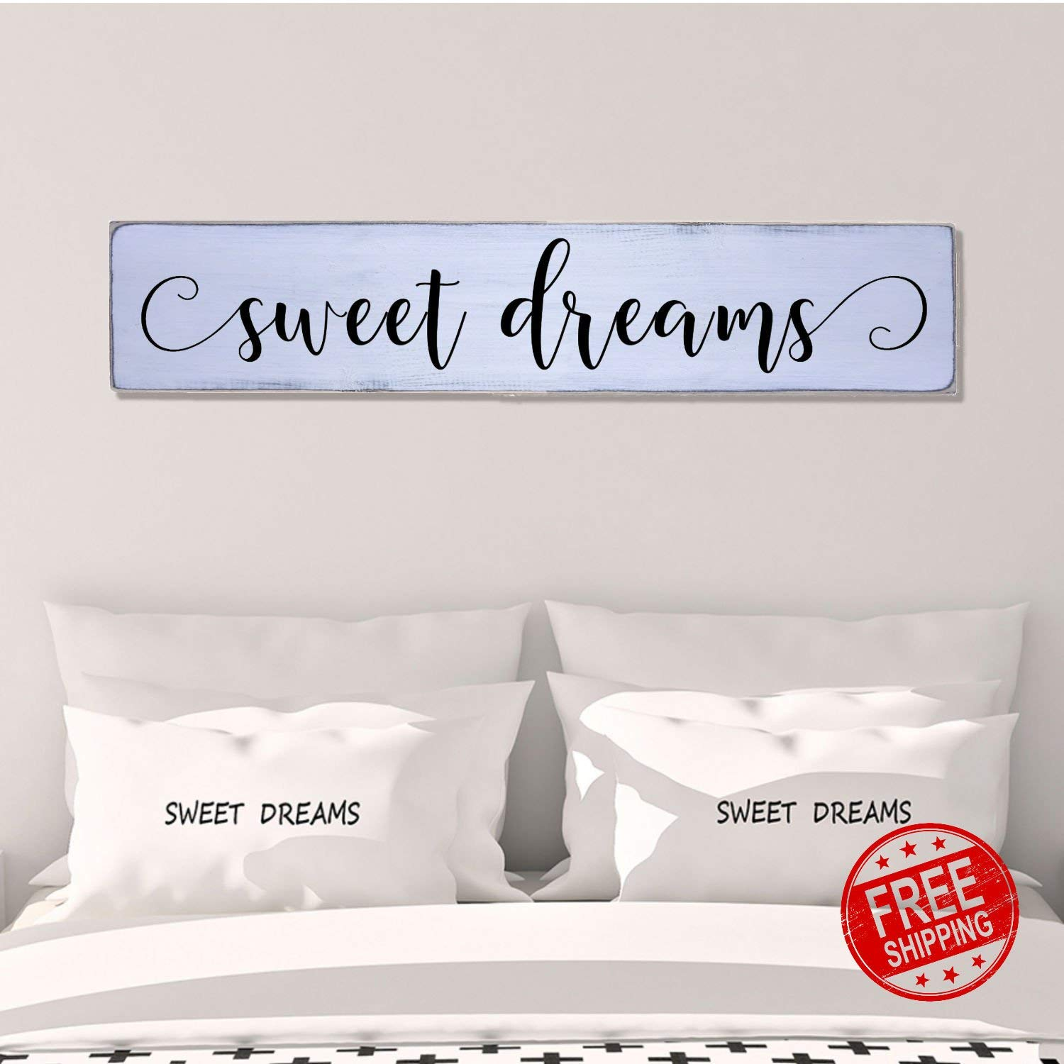 Sweet Dreams Modern Handmade Farmhouse Style Wall Art Wood Sign Large 10 in x 48 in Housewarming gift Bedroom Wall Decor